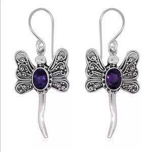 Dragonfly African Amethyst Sterling .925 Earrings